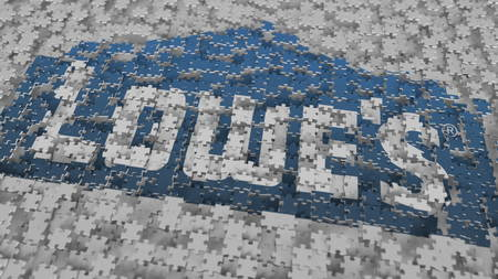 Logo of LOWES being made with puzzle pieces, editorial 3D rendering