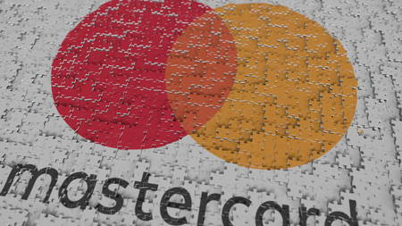 MASTERCARD logo composing with puzzle pieces, editorial 3D rendering