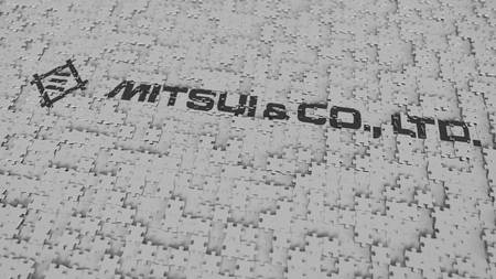 Logo of MITSUI being made with puzzle pieces, editorial 3D rendering Editorial