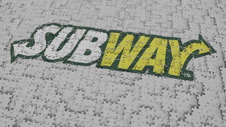Logo of SUBWAY being made with puzzle pieces, editorial 3D rendering Editorial