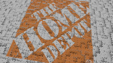 THE HOME DEPOT logo composing with puzzle pieces, editorial 3D rendering