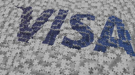 Logo of VISA being made with puzzle pieces, editorial 3D rendering