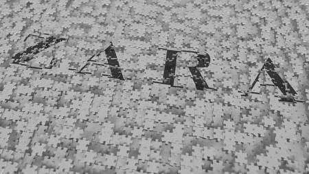 ZARA logo composing with puzzle pieces, editorial 3D rendering