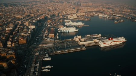 NAPLES, ITALY - DECEMBER 29, 2018. Aerial view of the Stazione Marittima Cruise Ship Terminal