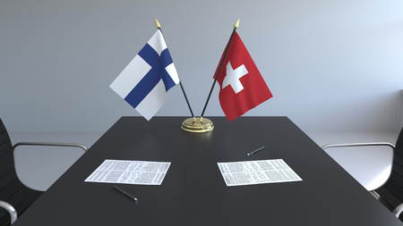 Flags of Finland and Switzerland and papers on the table. Negotiations and signing an international agreement. Conceptual 3D rendering Standard-Bild
