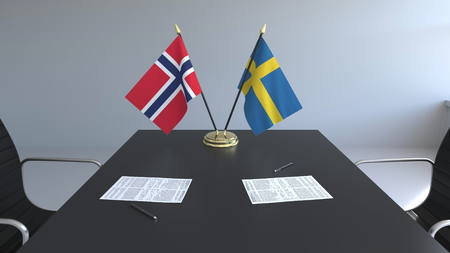 Flags of Norway and Sweden and papers on the table. Negotiations and signing an international agreement. Conceptual 3D rendering