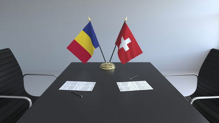 Flags and papers on the table. Negotiations and signing a contract. Conceptual 3D