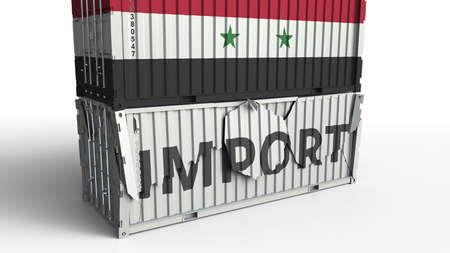 Container with flag of Syria breaking container with IMPORT text. Conceptual 3D rendering Stockfoto
