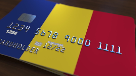 Plastic bank card featuring flag of Romania. Romanian national banking system related 3d rendering