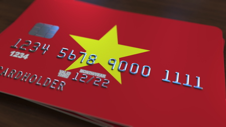 Plastic bank card featuring flag of Vietnam. Vietnamese national banking system related 3D rendering
