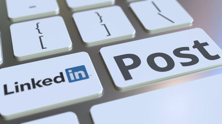 LINKEDIN company logo and Post text on the keys of the computer keyboard, editorial conceptual 3D rendering