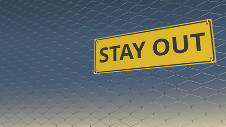 STAY OUT sign an a wire fence against sky, 3D rendering