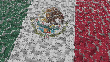 Flag of Mexico being made with jigsaw puzzle pieces. Mexican problem solution conceptual 3D rendering