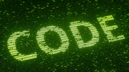 Green CODE word made with flying luminescent particles. Information technology related loopable 3D rendering