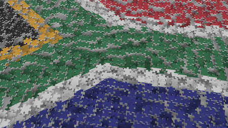 Flag of South Africa being made with jigsaw puzzle pieces. RSA problem solution conceptual 3D rendering