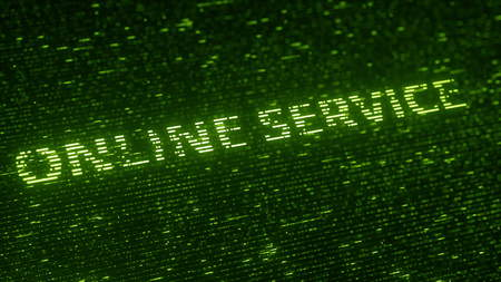 Green ONLINE SERVICE text made with flying luminescent particles. Information technology related loopable rendering
