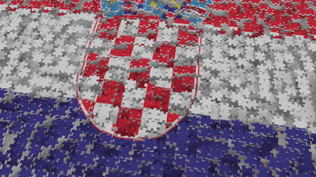 Flag of Croatia being made with jigsaw puzzle pieces. Croatian problem solution conceptual 3D rendering