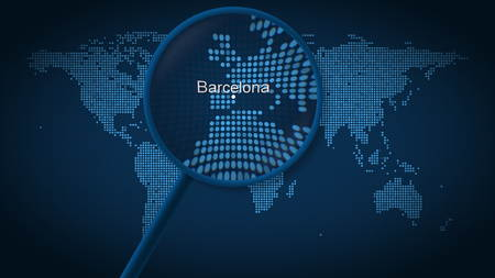 Magnifying glass searches and finds the city of Barcelona on dotted world map. 3D rendering