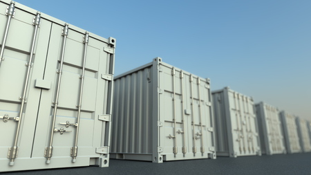 Row of white cargo containers, 3D rendering 免版税图像