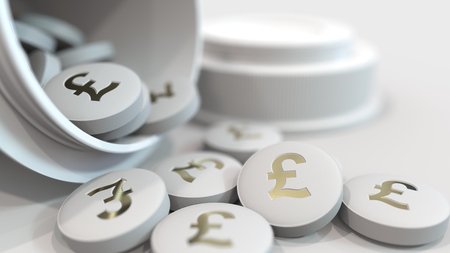 Close-up shot of pills with stamped pound sterling GBP symbol on them. Expensive drugs or financial remedy conceptual 3D rendering