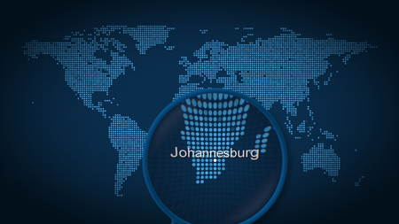Magnifying glass searches and finds the city of Johannesburg on dotted world map. 3D rendering 免版税图像