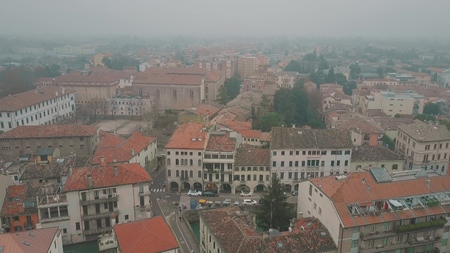 Aerial shot of the city of Padua on a foggy day, Italy Stock Photo