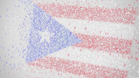 Falling numbers make up flag of PUERTO RICO. National digital technology related 3D rendering