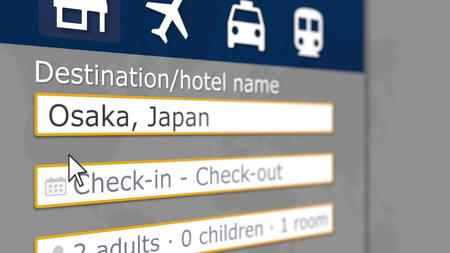 Booking hotel in Osaka, Japan online. Tourism related 3D rendering Reklamní fotografie