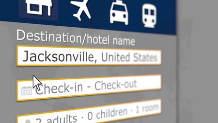 Hotel search in Jacksonville on some booking site. Travel to the United States related 3D rendering Stockfoto