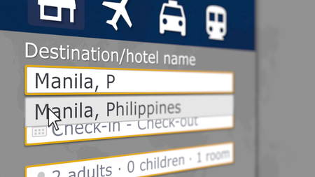Online hotel search in Manila on some booking site. Travel to Philippines conceptual 3D rendering