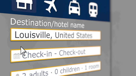 Searching hotel in Louisville, the United States on an online booking site. Travel related 3D rendering