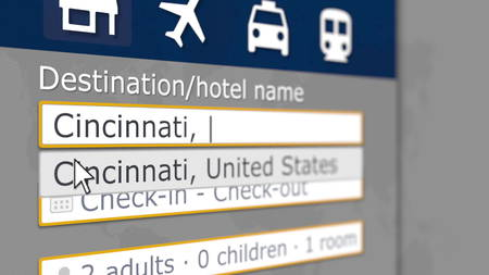 Hotel search in Cincinnati on some booking site. Travel to the United States related 3D rendering 免版税图像