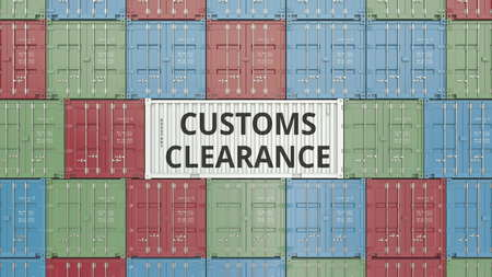 Container with CUSTOMS CLEARANCE text. 3D rendering