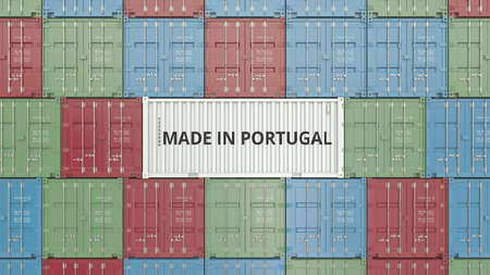 Container with MADE IN PORTUGAL text. Portuguese import or export related 3D rendering