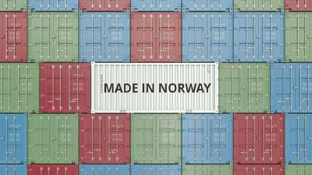 Cargo container with MADE IN NORWAY text. Norwegian import or export related 3D rendering Foto de archivo