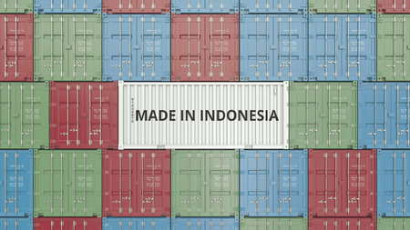 Container with MADE IN INDONESIA text. Indonesian import or export related 3D rendering Archivio Fotografico