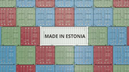 Container with MADE IN ESTONIA text. Estonian import or export related 3D rendering Foto de archivo