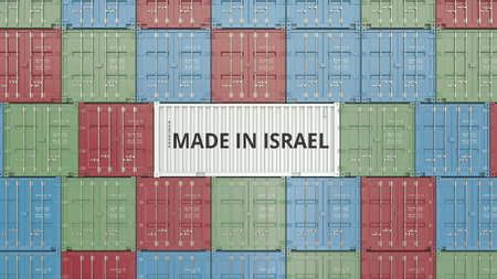 Container with MADE IN ISRAEL text. Israeli import or export related 3D rendering Foto de archivo