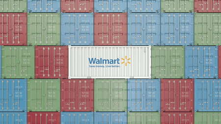 Container with Walmart corporate logo. Editorial 3D rendering