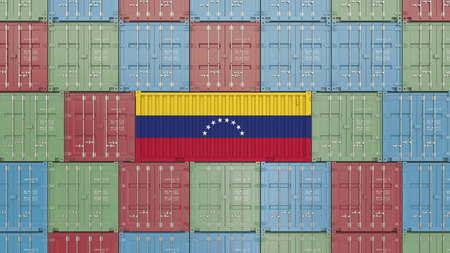 Container with flag of Venezuela. Venezuelan import or export related 3D rendering