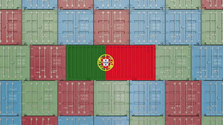 Cargo container with flag of Portugal. Portuguese import or export related 3D rendering 写真素材