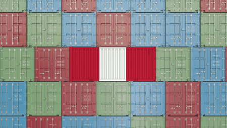 Container with flag of Peru. Peruvian import or export related 3D rendering Standard-Bild
