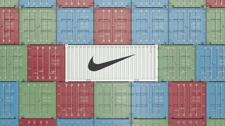 Container with Nike corporate logo. Editorial 3D rendering