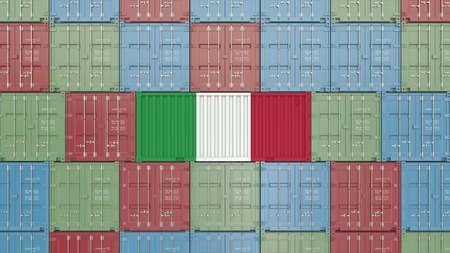 Cargo container with flag of Italy. Italian import or export related 3D rendering