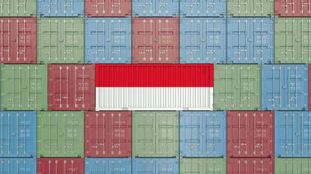 Cargo container with flag of Indonesia. Indonesian import or export related 3D rendering Standard-Bild