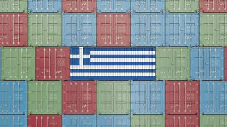 Container with flag of Greece. Greek import or export related 3D rendering