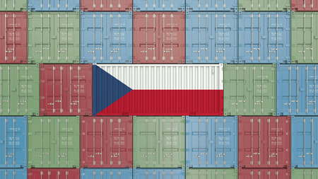 Cargo container with flag of the Czech Republic. Import or export related 3D rendering Standard-Bild