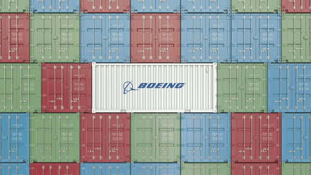Cargo container with Boeing corporate logo. editorial rendering