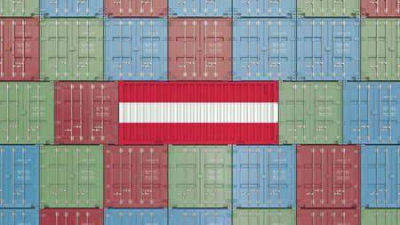 Container with flag of Austria. Austrian import or export related 3D rendering
