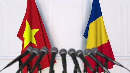 Flags of Vietnam and Romania at international meeting or negotiations press conference. 3D rendering